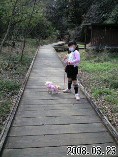 080323智光山公園で実織とベリー