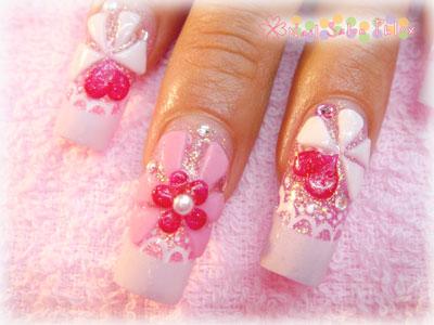 姫ネイル ピンク&リボン