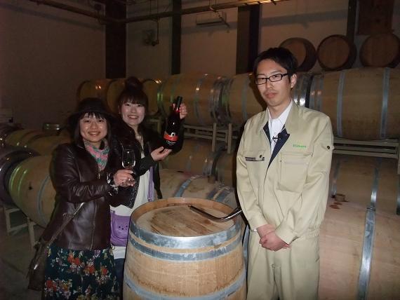 ワイン工場にて