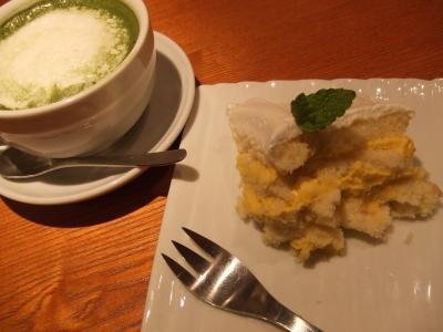 和カフェyusoshi chano-ma お抹茶ココアとかぼちゃのココナッツケーキ