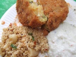 南インド料理~粟のウプマ/ヴェジタブル・クロケット
