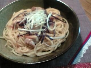 鶏肉とネギのスパゲティ 柚子胡椒風味