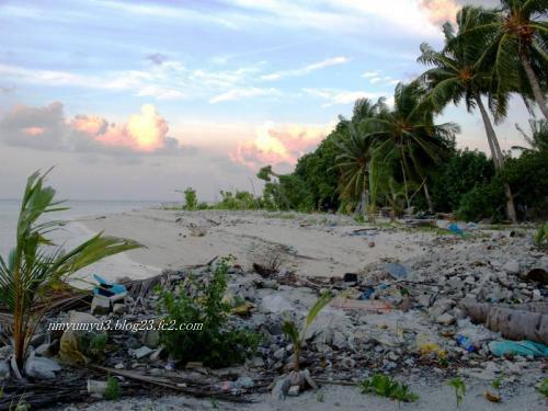 津波の後が残るビーチ