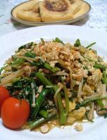 空心菜とエノキと卵の炒めもの
