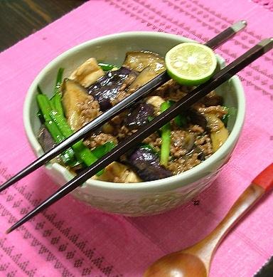 麻婆豆腐茄子丼