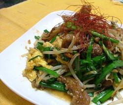 ラム肉とニラモヤシ・タオチオ炒め