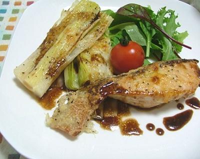 秋鮭とリーキのチーズ焼き