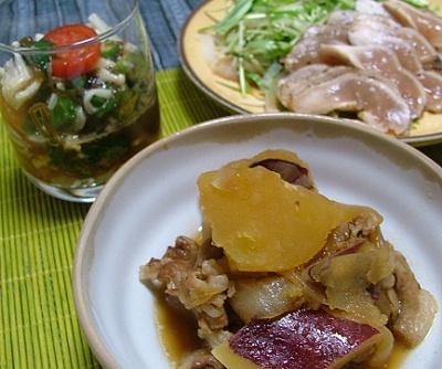 サツマイモと豚肉の煮物