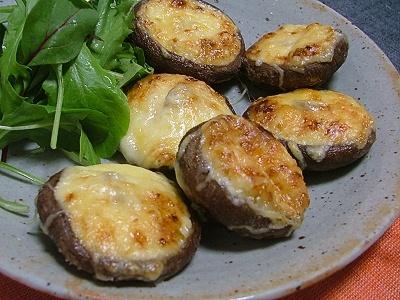 椎茸の柚子胡椒マヨチーズ焼き
