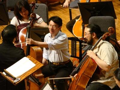 監督とチェロ奏者