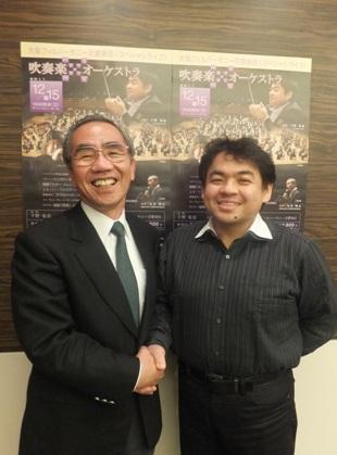 淀工 丸谷先生と下野さん、がっちり握手です!