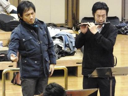 監督と福原さんの篠笛の共演