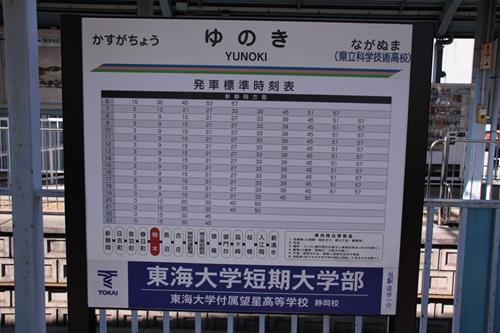 静岡鉄道静岡清水線柚木駅駅名表示札
