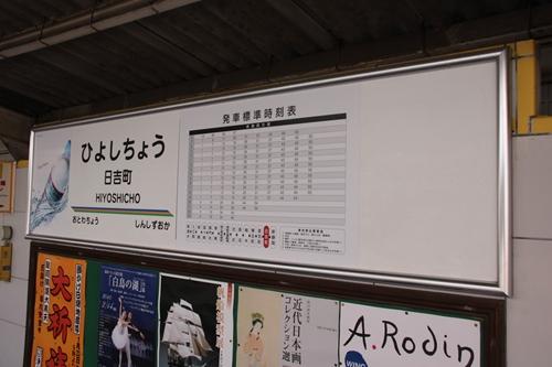 日吉町駅2番線ホーム駅名表示札掲示場所