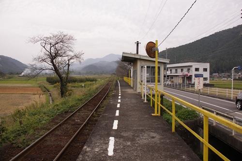樽見鉄道木知原駅ホーム根尾方面