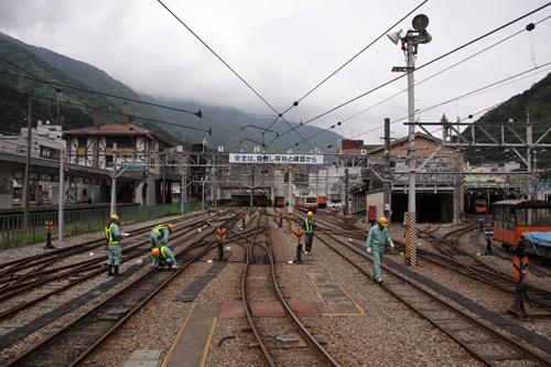 宇奈月温泉駅を望む