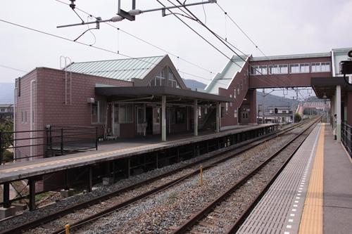 屋代高校前駅2番線ホームから望む駅舎
