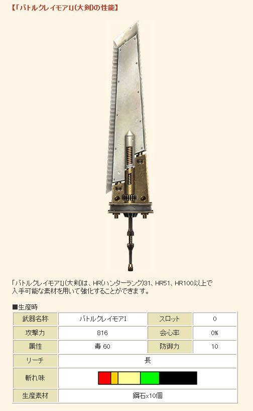 【「バトルクレイモアI」(大剣)の性能】1