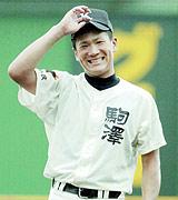 田中投手の笑顔