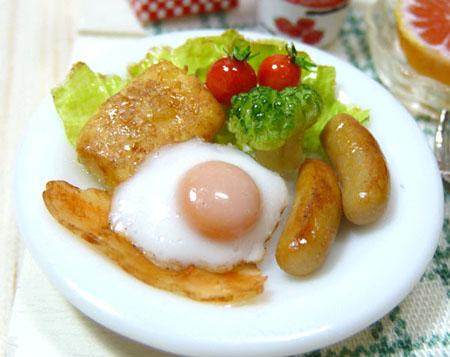 ドールハウス ミニチュア dollhouse 樹脂粘土 朝食 モーニングセット 作り方