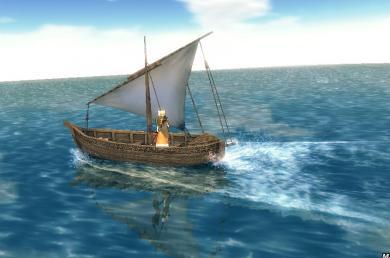 可愛らしい小舟で