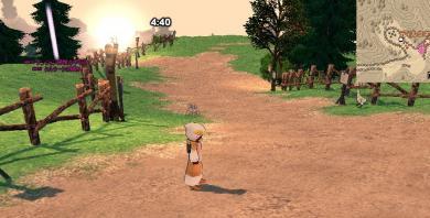 村へはなだらかな下り坂を下りて…