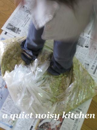 味噌作り・足で大豆踏み