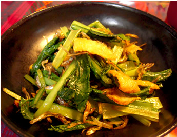 小松菜とじゃこのピリ辛炒め