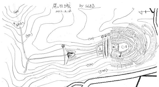 尾引城縄張図 ②