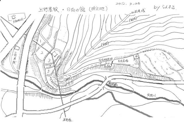 上野・日向居館 縄張図 ②