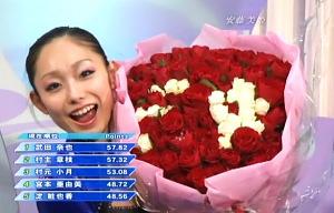 ミキと入った薔薇の花束