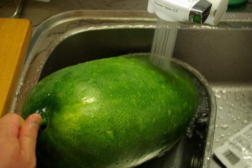 冬瓜の棘を洗い流す