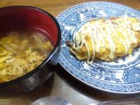 茗荷と卵の汁、明太子オムレツ。