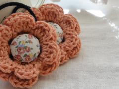 珊瑚色*お花ヘアゴム