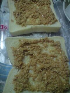 納豆をパンに