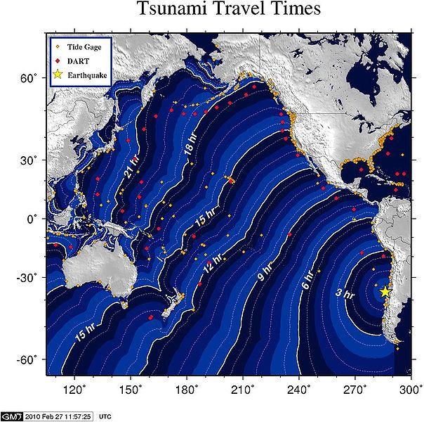 津波の到達予想