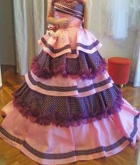 ピンク 黒水玉 ドレス