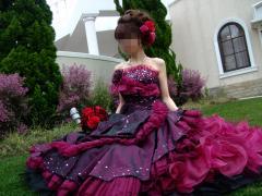 ワイン色ドレス