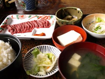 桜さしみ【ロース】定食@坂下ドライブイン