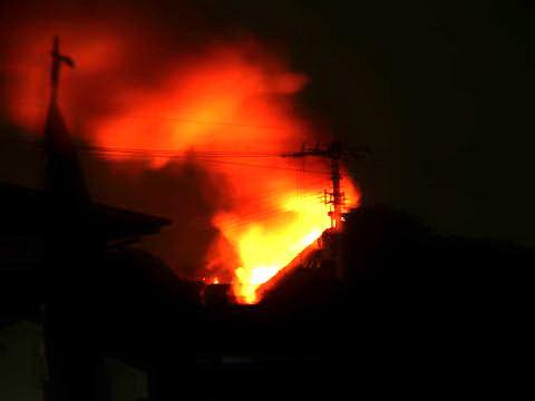笠松山の火事2008年8月25日撮影