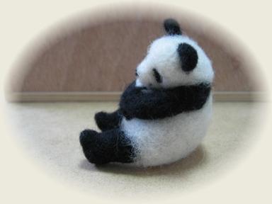 羊毛フェルト☆親子パンダ☆子パンダをギュウッ♪