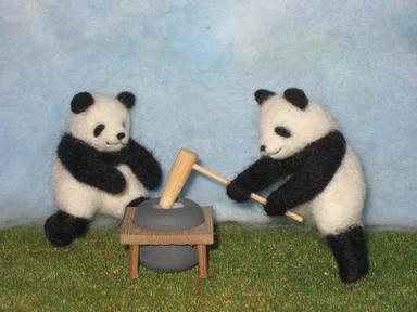 羊毛フェルト☆パンダの餅つき