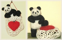 パンダのバレンタインオーナメント