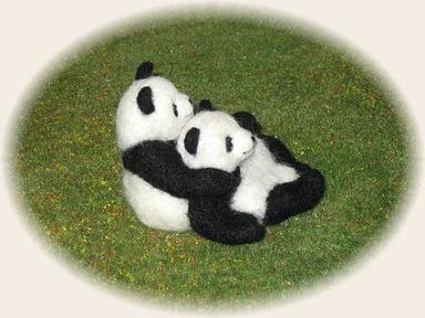 羊毛フェルト☆仲良し子パンダ