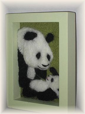 羊毛フェルト☆親子パンダの立体額