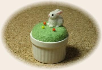 羊毛フェルト☆ウサギのピンクッション