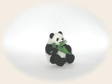 羊毛フェルト☆笹を食べるパンダ