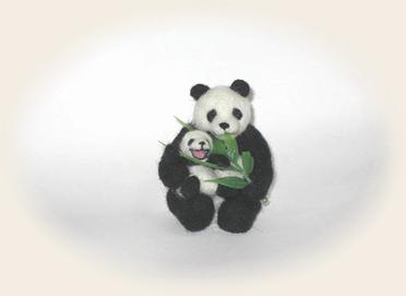 羊毛フェルト☆笹を食べるパンダ 三部作完成!