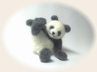 羊毛フェルト☆グレーパンダ