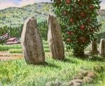 椿と石碑のある風景